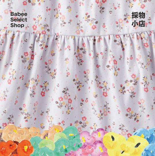 淺紫花花及膝連衣裙